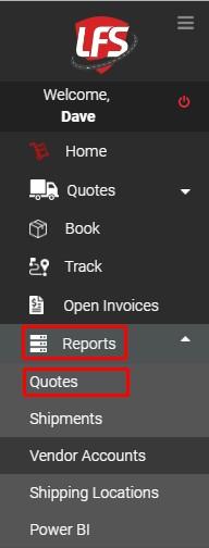 Menu reports